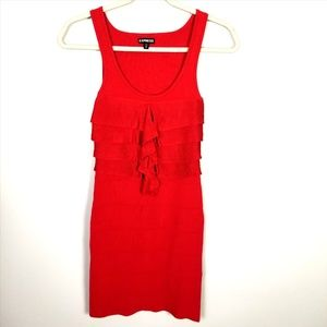 EXPRESS Red Bodycon Layered Ruffled Dress XS